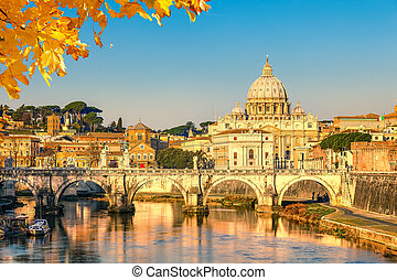 St. Peter's cathedral in Rome - View at Tiber and St....