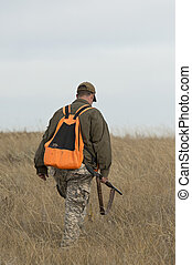 Bird Hunting - A pheasant Hunter out on the prairie