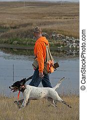 caçador, e, seu, cão,