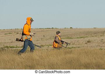 pai, e, filho, caça,