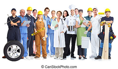 Group of workers people. - Group of workers people isolated...