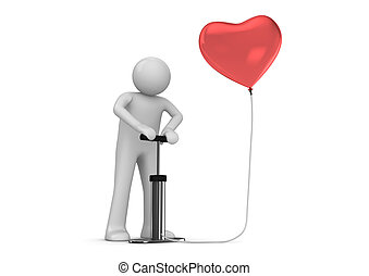 Pump that heart - Love, valentine day series; 3d isolated...