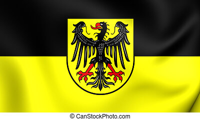 Flag of Aachen City North Rhine-Westphalia, Germany - 3D...