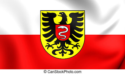 Flag of Aalen City Baden-Wurttemberg, Germany - 3D Flag of...