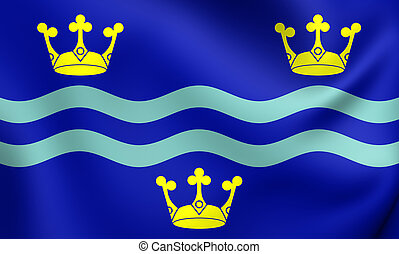 Flag of Cambridgeshire County, England - 3D Flag of...