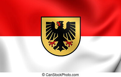 Flag of Dortmund City North Rhine-Westphalia, Germany - 3D...