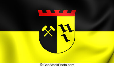 Flag of Gladbeck City North Rhine-Westphalia, Germany - 3D...