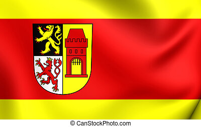 Flag of Kerpen City North Rhine-Westphalia, Germany - 3D...