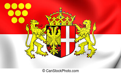 Flag of Neuss City North Rhine-Westphalia, Germany - 3D Flag...
