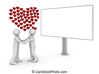 Love thoughts and billboard - Love, valentine day series; 3d...