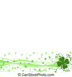 St Patricks day border with four leaf clover