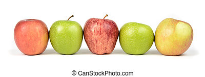 Apple Varieties - A variety of apples in a row