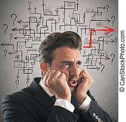 Solution of maze answer - Worried man finds the difficult...