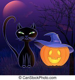 Halloween black cat card template - Halloween night vector...