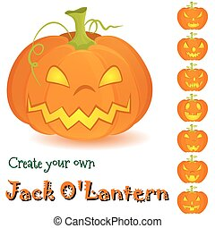 Halloween pumpkin Jack OLantern set isolated on white -...