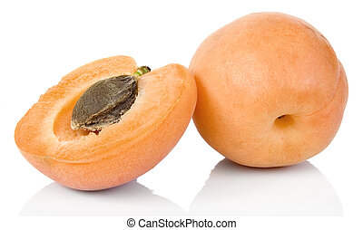 Apricot - Full focus of Apricots studio isolated on white...