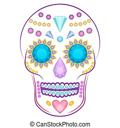 Skull decorated with colorful precious stones and gems -...