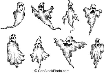Halloween eerie and funny ghosts - Flying halloween eerie...