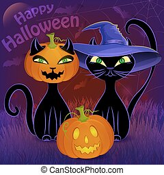 Happy Halloween black cats card template - Halloween night...