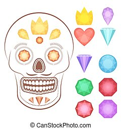 Cartoon gems and precious stones icons set - Collection of...