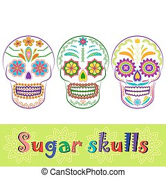 Mexican sugar skull vector collection - Colorful sugar skull...