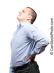 Back pain - Young businessman with strong back pain,...