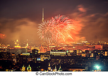 Fireworks above the city.
