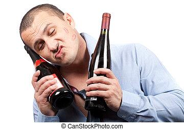 ENGRAÇADO, bêbado, homem negócios