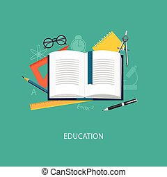 flat elements of education - Flat design modern vector...