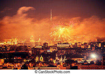 Fireworks above the city - Fireworks above the city at...