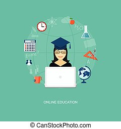 flat elements of education with girl - Flat design modern...
