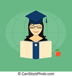 girl with a book - Vector illustration girl with a book and...