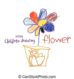 Children drawing - Vector drawing of real children Flower in...