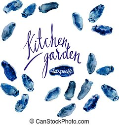 Kitchen garden - Vector set of watercolor sketches...