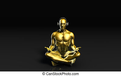 Man with Headphones Listening to Music Meditating