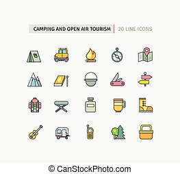 Line Icons Camping Equipment, Open Air Tourism - Set of thin...