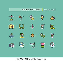 Set of Thin Lines Icons Holidays and Leisure - Set of thin...