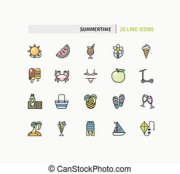 Set of Thin Lines Icons Summertime - Set of thin lines icons...