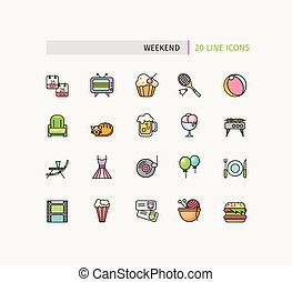 Set of Thin Lines Weekend Picnic Icons