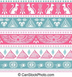 Tribal ethnic seamless pattern with Egypt symbols