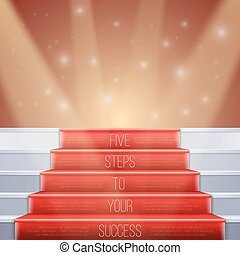 Photorealistic Vector Stairs with Red Carpet and Bright...