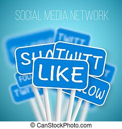 Set of Social Media Network Road Signs include Like Share,...
