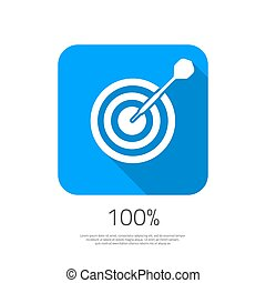Flat Vector Target 100 Hit the Goal Icon with Long Shadow...