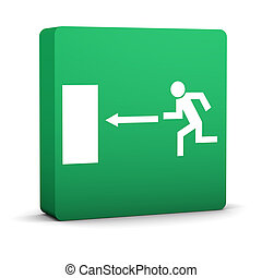 Exit Sign - Green emergency exit sign on a white background....