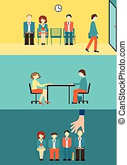 recruitment. - Business people sitting and waiting for...