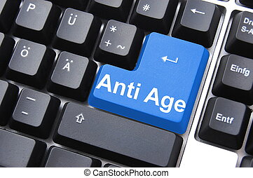 anti ageing computer button showing beauty concept...