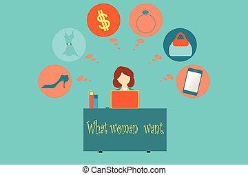 Business woman thinking about what woman want. - Business...