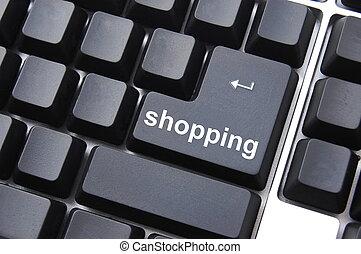 shopping key - shopping computer key showing intenet...