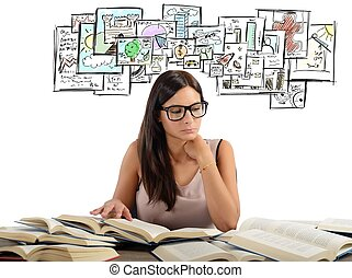 Girl studying academic subjects - Girl studying all academic...