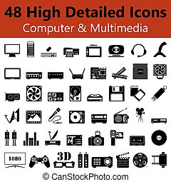Computer and Multimedia Smooth Icons - Set of High Detailed...